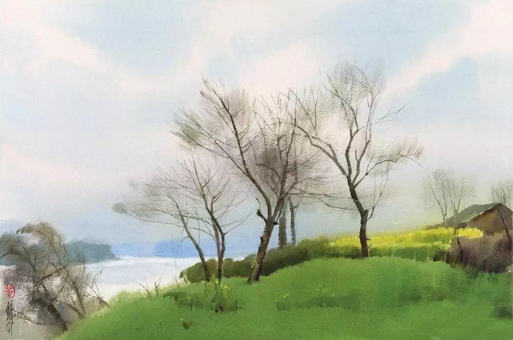 黄铁山水彩画的时代特色主要不是体现在题材上,而是主要表现在作品意境的经营上,他说的是自己要说的话,画的是他的亲身感受,画面不落前人窠臼,不走别人的套路,一看是生动的、鲜活的、有当今时代特点的艺术创造。把写实的风格和抒情的写意完美地结合起来,是黄铁山水彩画的另一鲜明特色。为此,他临摹传统的中国画,钻研文人画的笔墨,体会民族传统绘画的写意性格。水彩,在本性上是最接近传统水墨,传统水墨的美学观念和技法为水彩画提供了不少可资借鉴的因素,但水彩画只能在保持本身特色的基础上吸收水墨画的经验,以增强水彩的表现力,因而不
